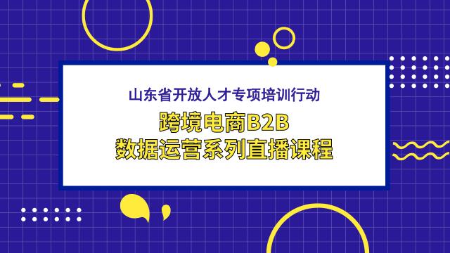 山东省开放人才专项培训行动- 跨境电商B2B数据运营系列直播课程